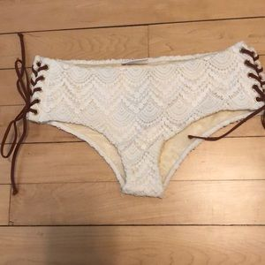 White lace mid rise slightly cheeky bikini bottoms